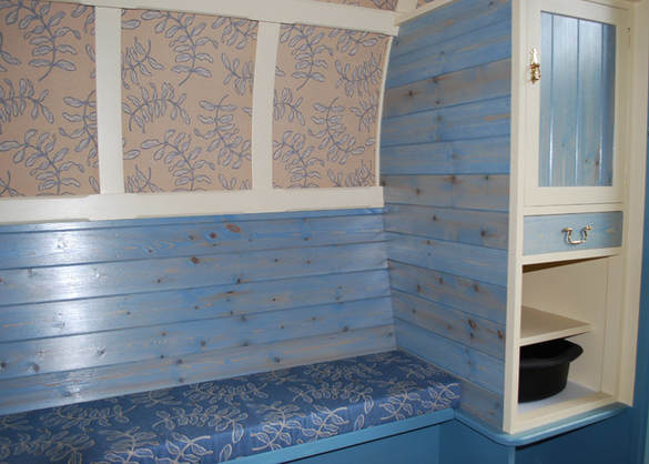 Storage and bench in our Gypsy Caravan
